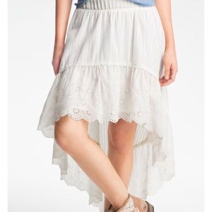Free people Lolita tiered high low off-white skirt
